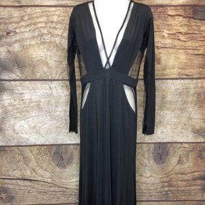 Blithe Large Black Deep V Open Mesh Cocktail Dress